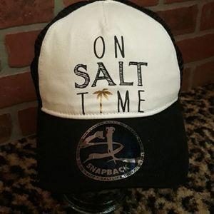 On Time Salt Life white black baseball Hat Cap New